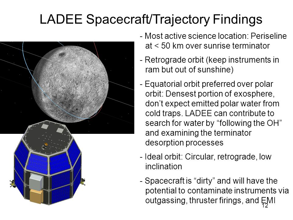 12 LADEE Spacecraft/Trajectory Findings - Most active science location: Periseline at < 50 km over sunrise terminator - Retrograde orbit (keep instrum