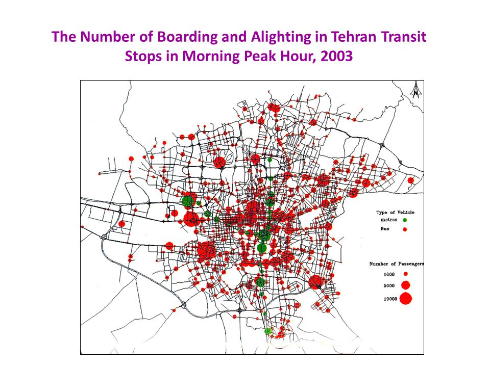 The Number of Boarding and Alighting in Tehran Transit Stops in Morning Peak Hour, 2003