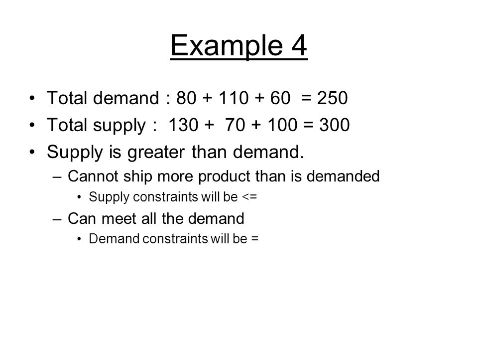 Example 4 Total demand : 80 + 110 + 60 = 250 Total supply : 130 + 70 + 100 = 300 Supply is greater than demand. –Cannot ship more product than is dema