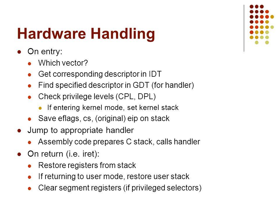 Hardware Handling On entry: Which vector? Get corresponding descriptor in IDT Find specified descriptor in GDT (for handler) Check privilege levels (C