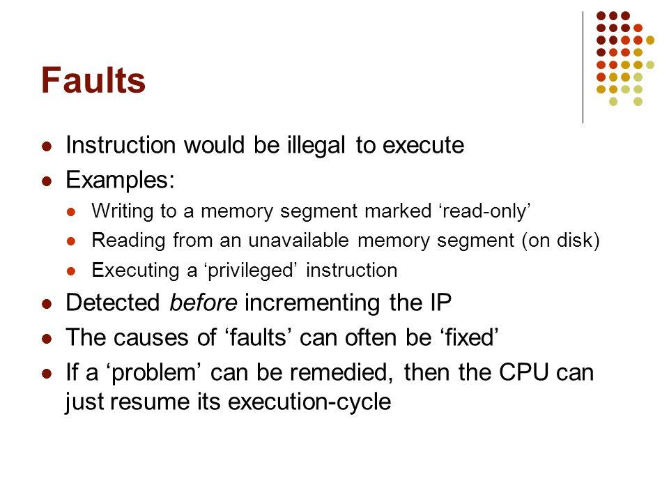 Summary Exception vs.Interrupt Synchronous vs. Asynchronous Fault vs.