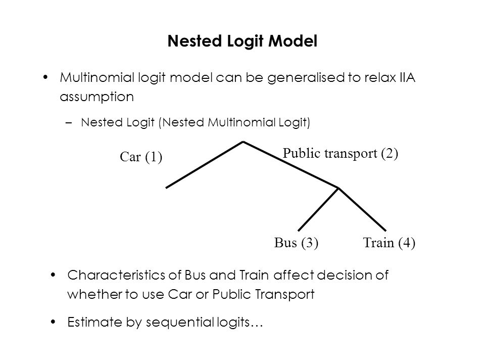 Nested Logit Model Multinomial logit model can be generalised to relax IIA assumption –Nested Logit (Nested Multinomial Logit) Car (1) Public transport (2) Bus (3)Train (4) Characteristics of Bus and Train affect decision of whether to use Car or Public Transport Estimate by sequential logits…