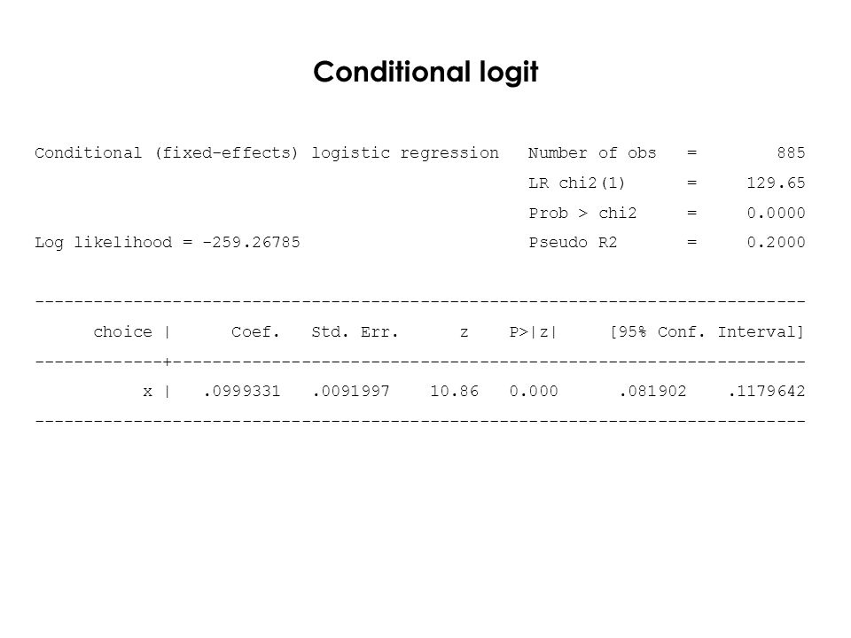Conditional logit Conditional (fixed-effects) logistic regression Number of obs = 885 LR chi2(1) = 129.65 Prob > chi2 = 0.0000 Log likelihood = -259.26785 Pseudo R2 = 0.2000 ------------------------------------------------------------------------------ choice | Coef.