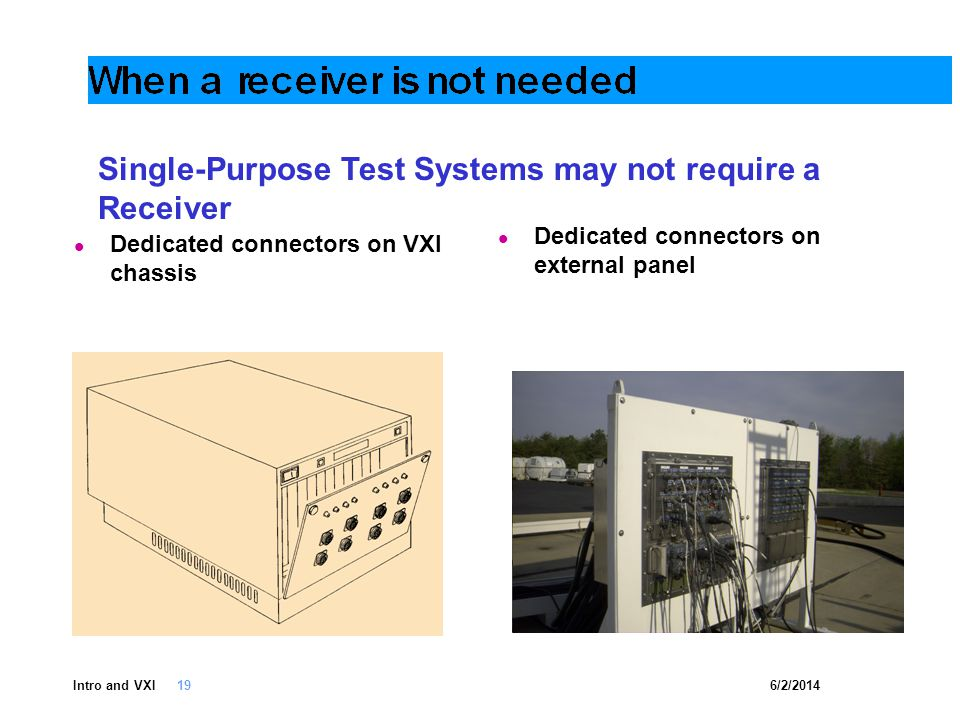6/2/2014Intro and VXI 19 Dedicated connectors on VXI chassis Dedicated connectors on external panel Single-Purpose Test Systems may not require a Receiver