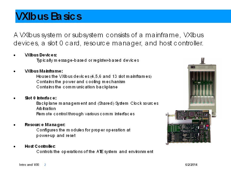 6/2/2014Intro and VXI 13 GPIB-VXI PCI-VXI IEEE1394-VXI USB 2.0-VXI LXI-VXI PCIe-VXI