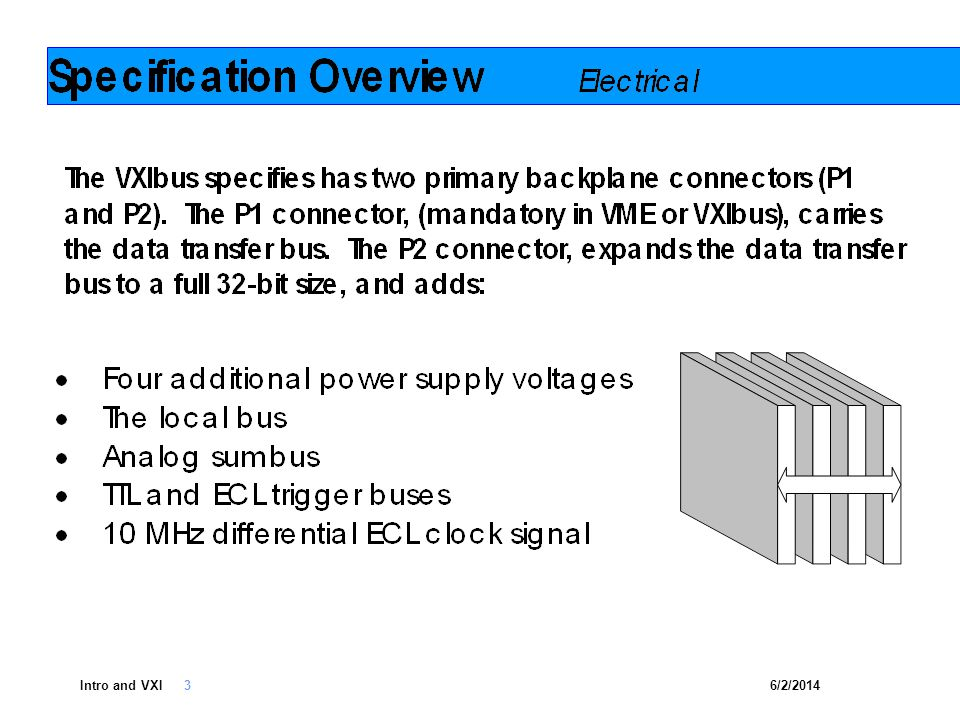 6/2/2014Intro and VXI 4 C-size cards allow for the addition of EMC/EMI shielding Industrys most common and widely supported modular footprint is the C- size card One unique logical address (ULA) per VXIbus device, allowing for 256 ULAs in a single VXIbus system Other platforms (i.e.