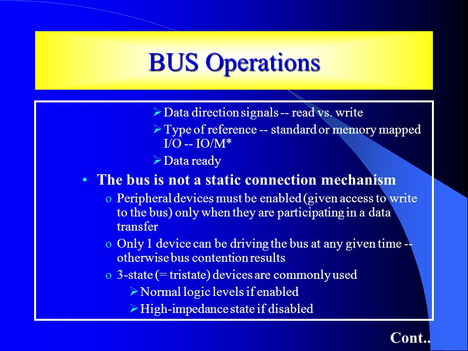 BUS Operations Data direction signals -- read vs.