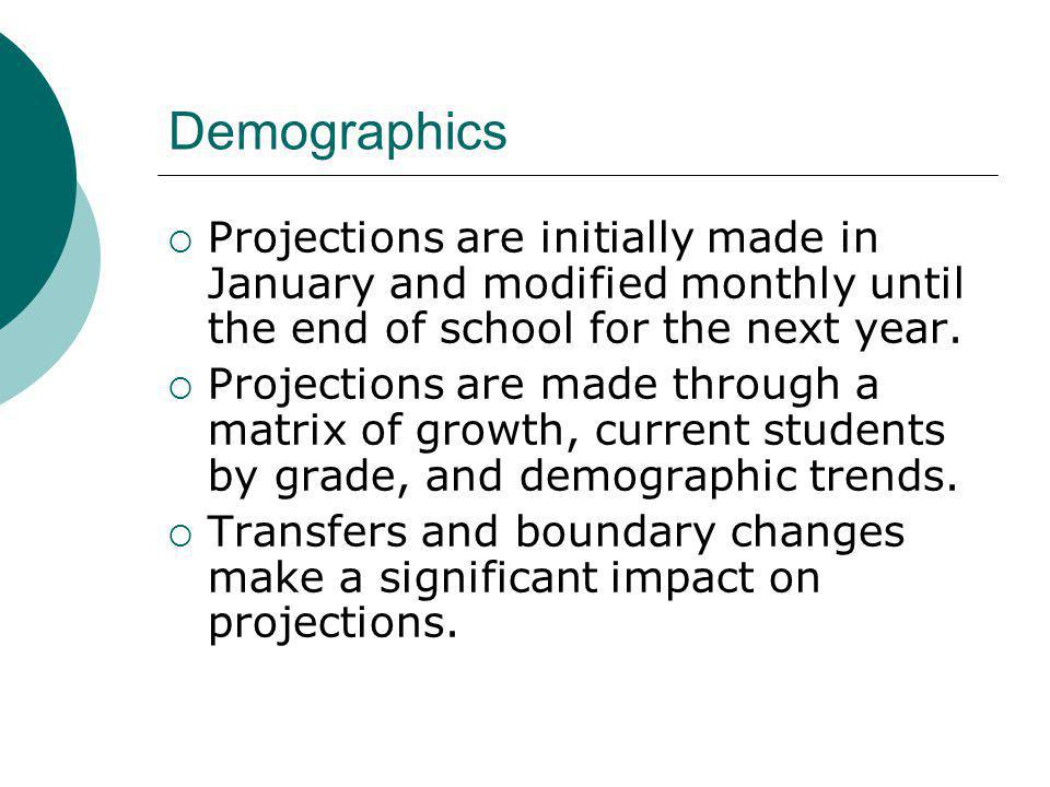 Projections are initially made in January and modified monthly until the end of school for the next year. Projections are made through a matrix of gro