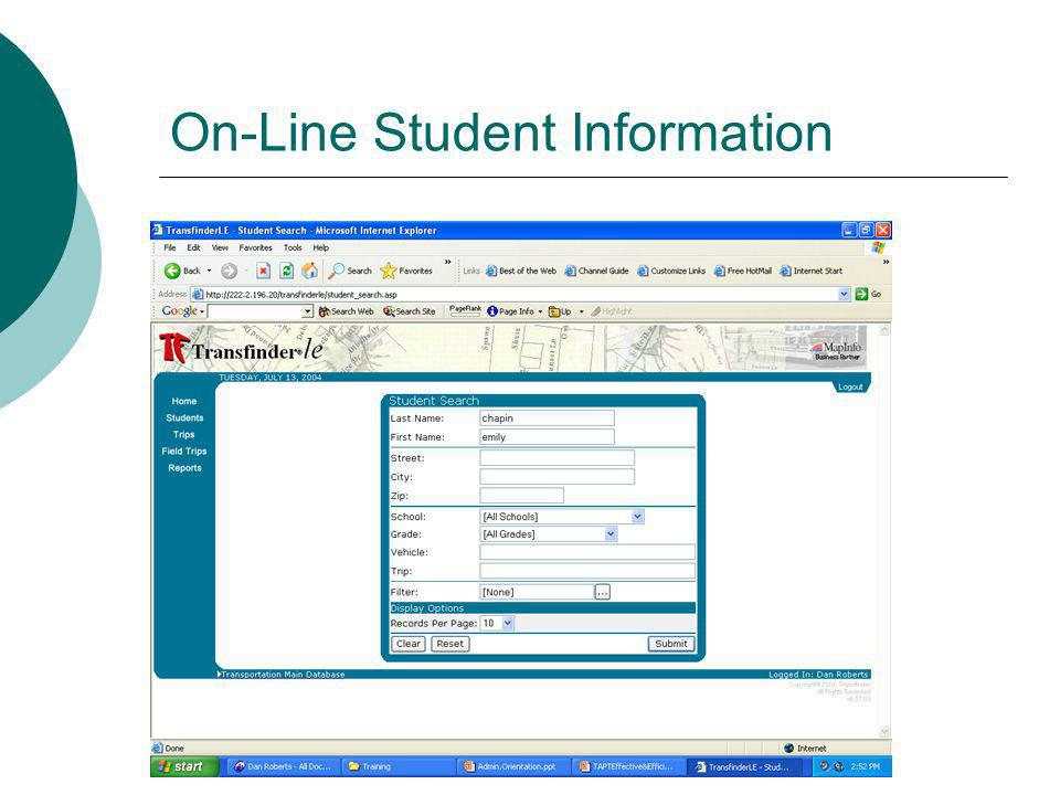 On-Line Student Information