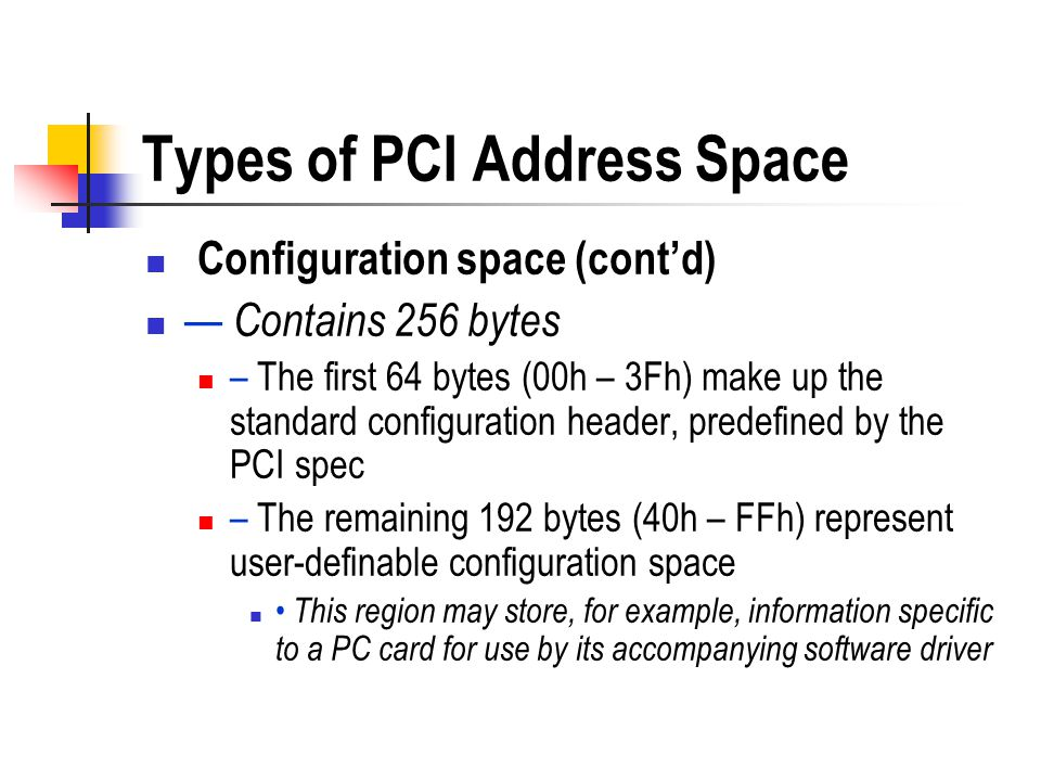 Types of PCI Address Space Configuration space (contd) Contains 256 bytes – The first 64 bytes (00h – 3Fh) make up the standard configuration header,