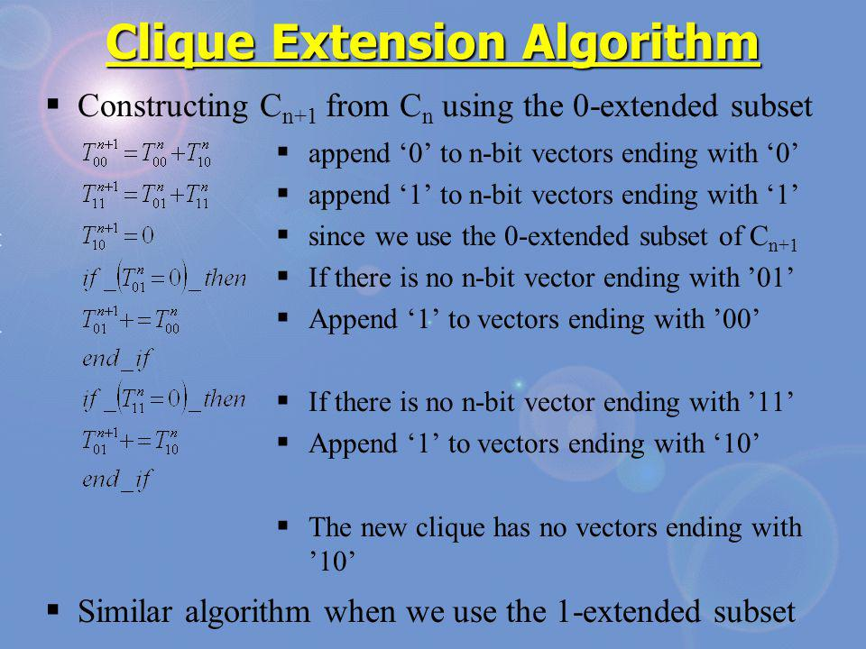 Constructing C n+1 from C n using the 0-extended subset Similar algorithm when we use the 1-extended subset Clique Extension Algorithm append 0 to n-b