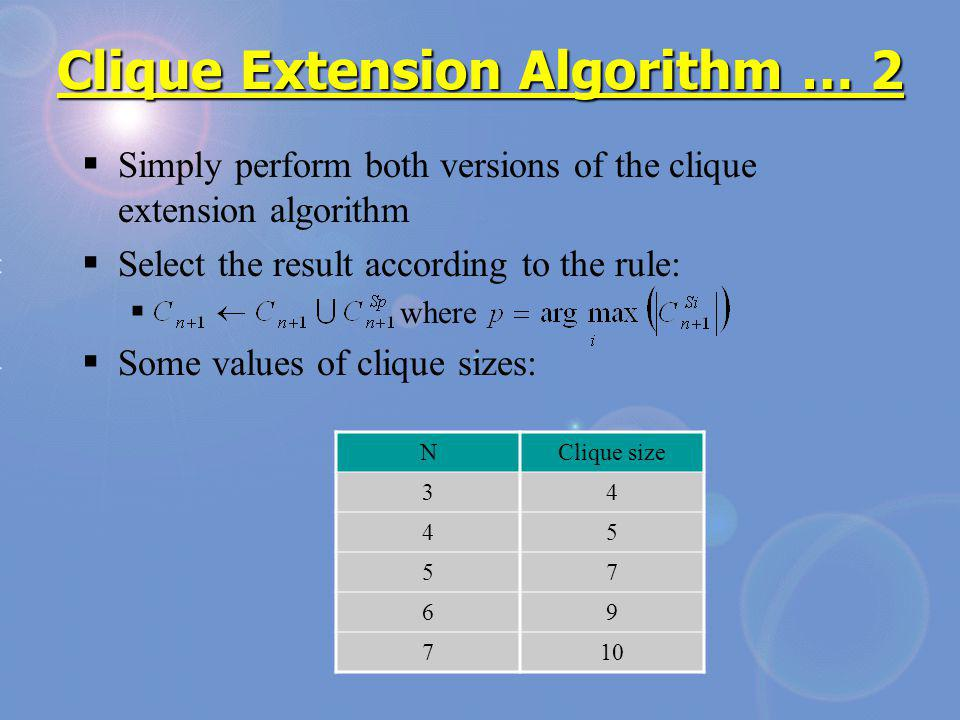Clique Extension Algorithm … 2 Simply perform both versions of the clique extension algorithm Select the result according to the rule: where Some values of clique sizes: NClique size 34 45 57 69 710