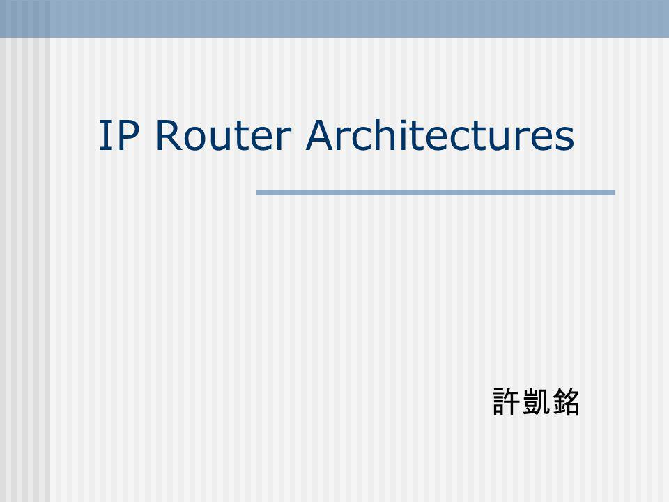 Outline Basic IP Router Functionalities IP Router Architectures