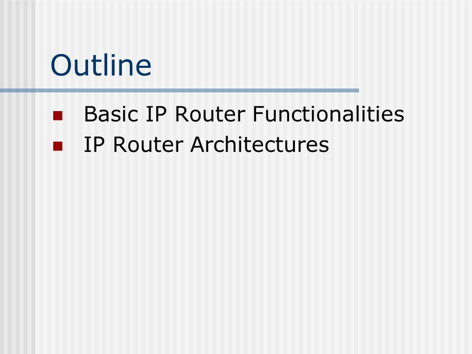 Generic architecture of a router Basic architecture Routing components