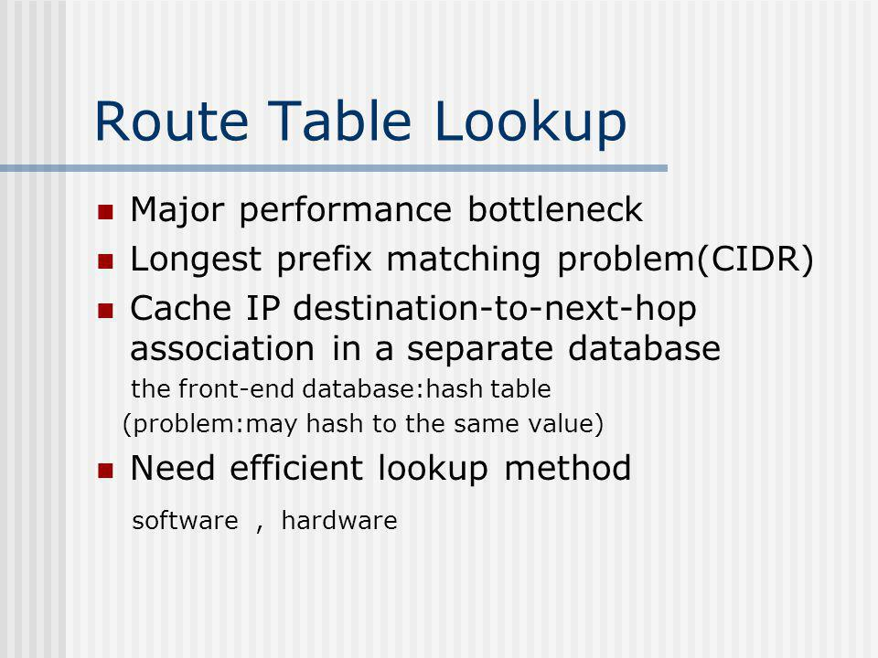 Route Table Lookup Major performance bottleneck Longest prefix matching problem(CIDR) Cache IP destination-to-next-hop association in a separate database the front-end database:hash table (problem:may hash to the same value) Need efficient lookup method software, hardware