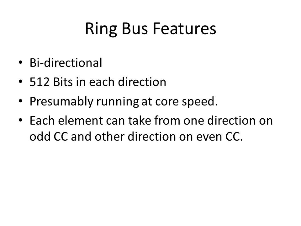 Ring Bus Features Bi-directional 512 Bits in each direction Presumably running at core speed.