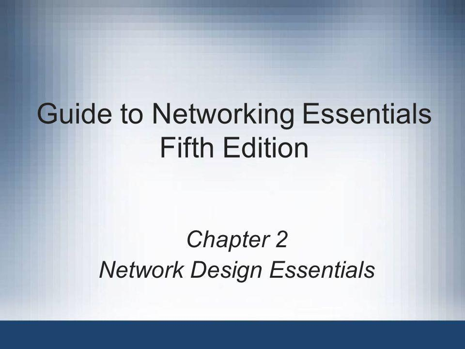 Guide to Networking Essentials, Fifth Edition32 Summary Basic physical topologies: bus, star, or ring –Physical bus: easy to install but outdated The logical bus topology is still used, but is almost always implemented as a physical star –Physical ring: connects devices in such a way that the cabling starts and ends with the same computer Rarely used (except in FDDI) Logical ring topology typically uses token passing to send data around ring; normally implemented as a star –Physical star: centralized management and higher degree of fault tolerance Topology of choice in todays networks