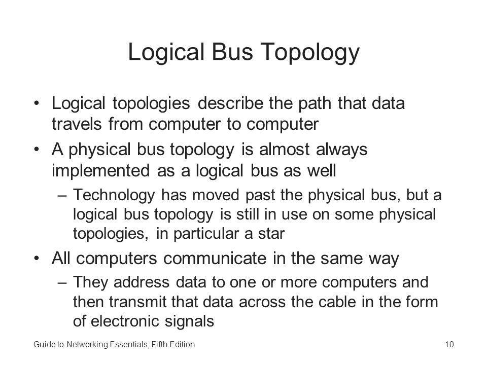 Guide to Networking Essentials, Fifth Edition10 Logical Bus Topology Logical topologies describe the path that data travels from computer to computer