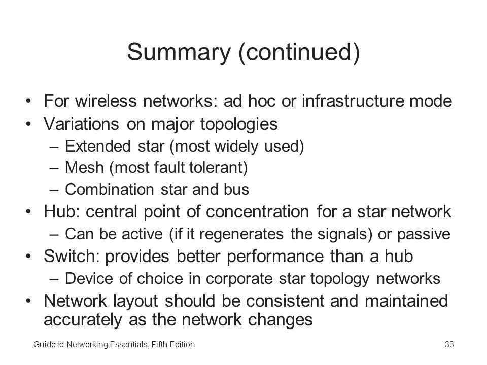 Guide to Networking Essentials, Fifth Edition33 Summary (continued) For wireless networks: ad hoc or infrastructure mode Variations on major topologie