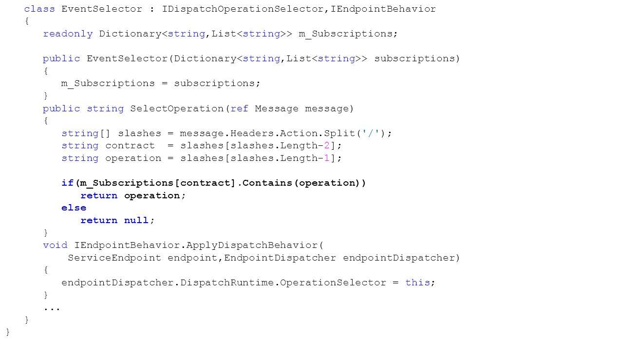 class EventSelector : IDispatchOperationSelector,IEndpointBehavior { readonly Dictionary > m_Subscriptions; public EventSelector(Dictionary > subscrip