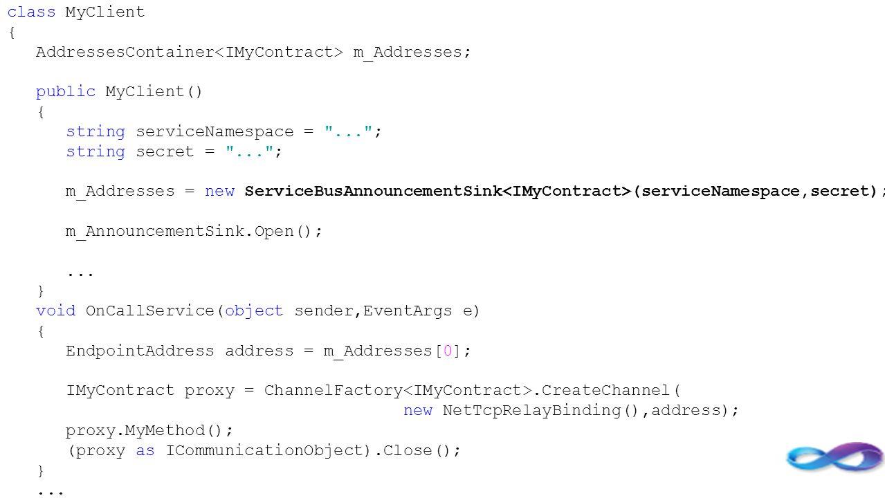 class MyClient { AddressesContainer m_Addresses; public MyClient() { string serviceNamespace =