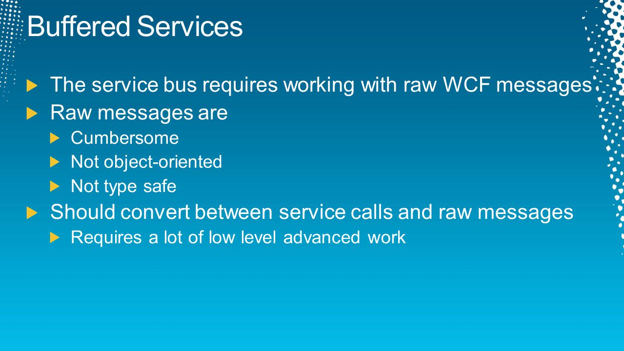 Buffered Services The service bus requires working with raw WCF messages Raw messages are Cumbersome Not object-oriented Not type safe Should convert