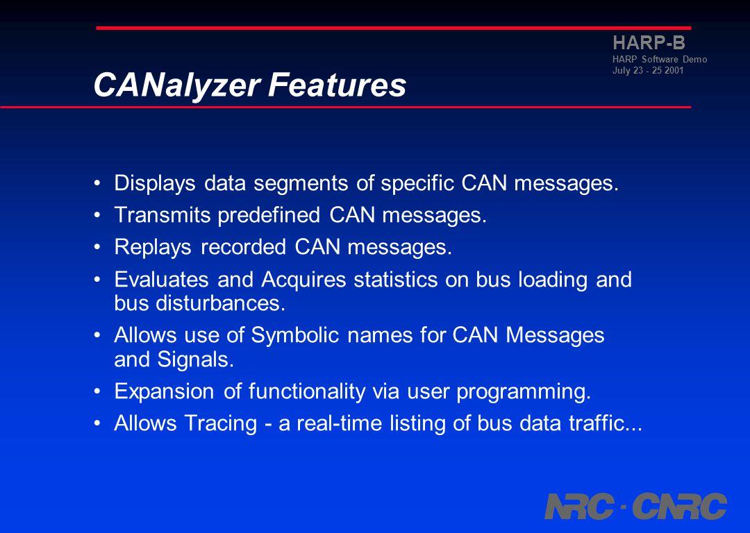 HARP-B HARP Software Demo July 23 - 25 2001 HARP-B with CANalyzer CANalyzer
