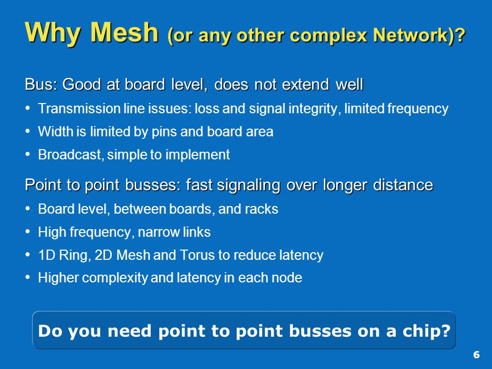 6 Why Mesh (or any other complex Network).