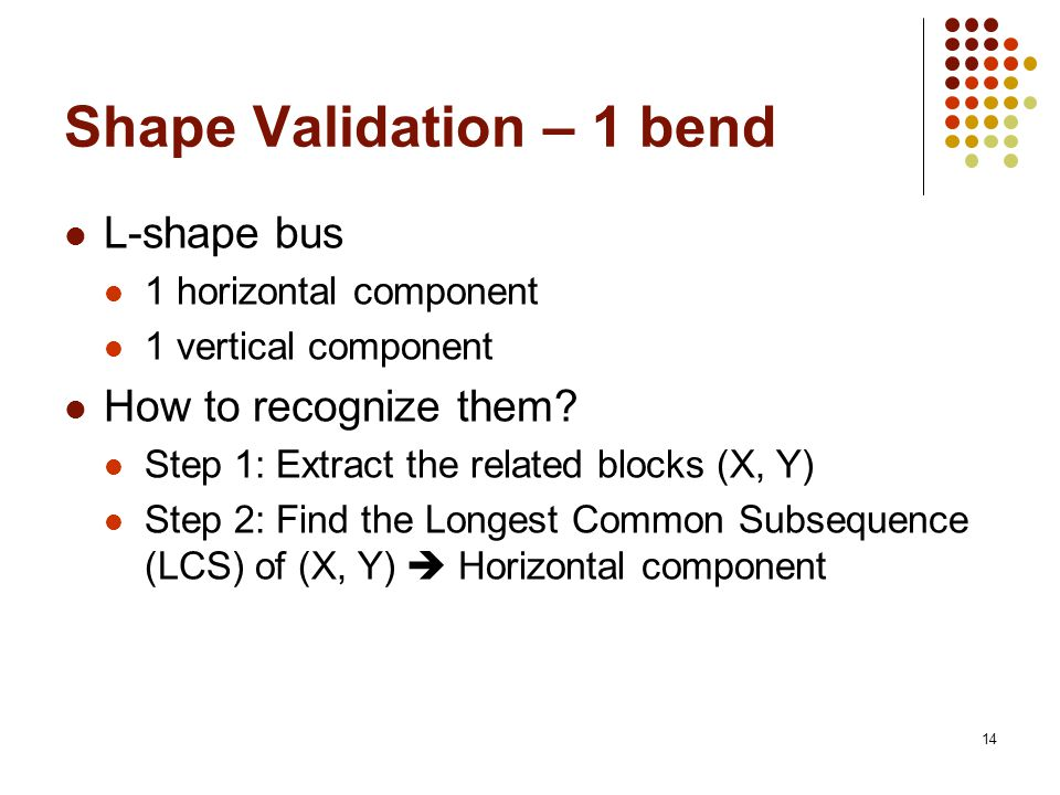 14 Shape Validation – 1 bend L-shape bus 1 horizontal component 1 vertical component How to recognize them.