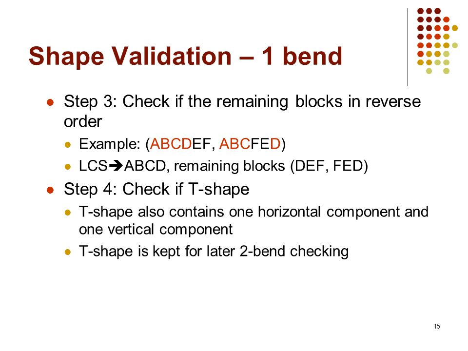 15 Shape Validation – 1 bend Step 3: Check if the remaining blocks in reverse order Example: (ABCDEF, ABCFED) LCS ABCD, remaining blocks (DEF, FED) St