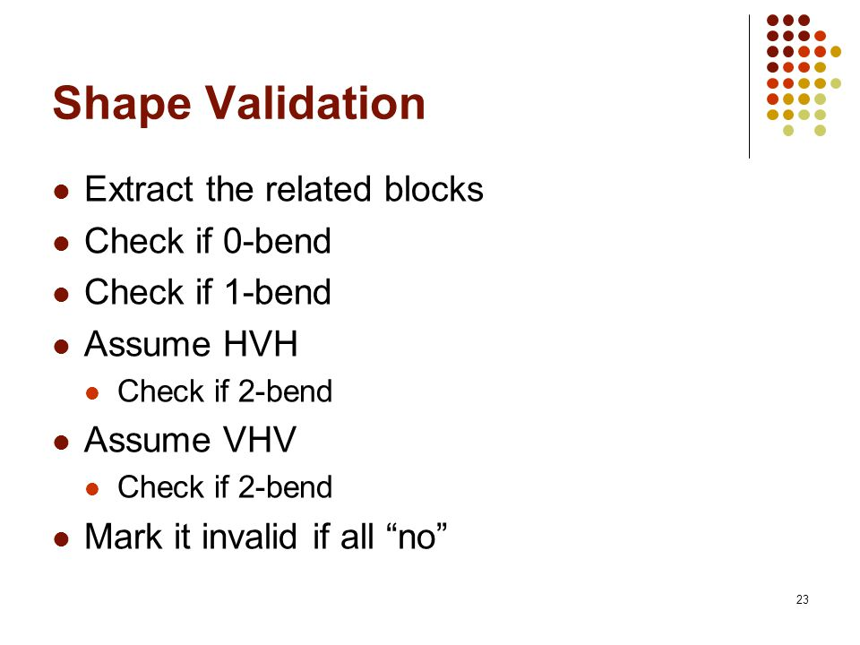 23 Shape Validation Extract the related blocks Check if 0-bend Check if 1-bend Assume HVH Check if 2-bend Assume VHV Check if 2-bend Mark it invalid if all no