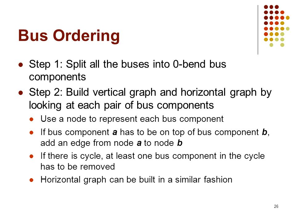 26 Bus Ordering Step 1: Split all the buses into 0-bend bus components Step 2: Build vertical graph and horizontal graph by looking at each pair of bus components Use a node to represent each bus component If bus component a has to be on top of bus component b, add an edge from node a to node b If there is cycle, at least one bus component in the cycle has to be removed Horizontal graph can be built in a similar fashion