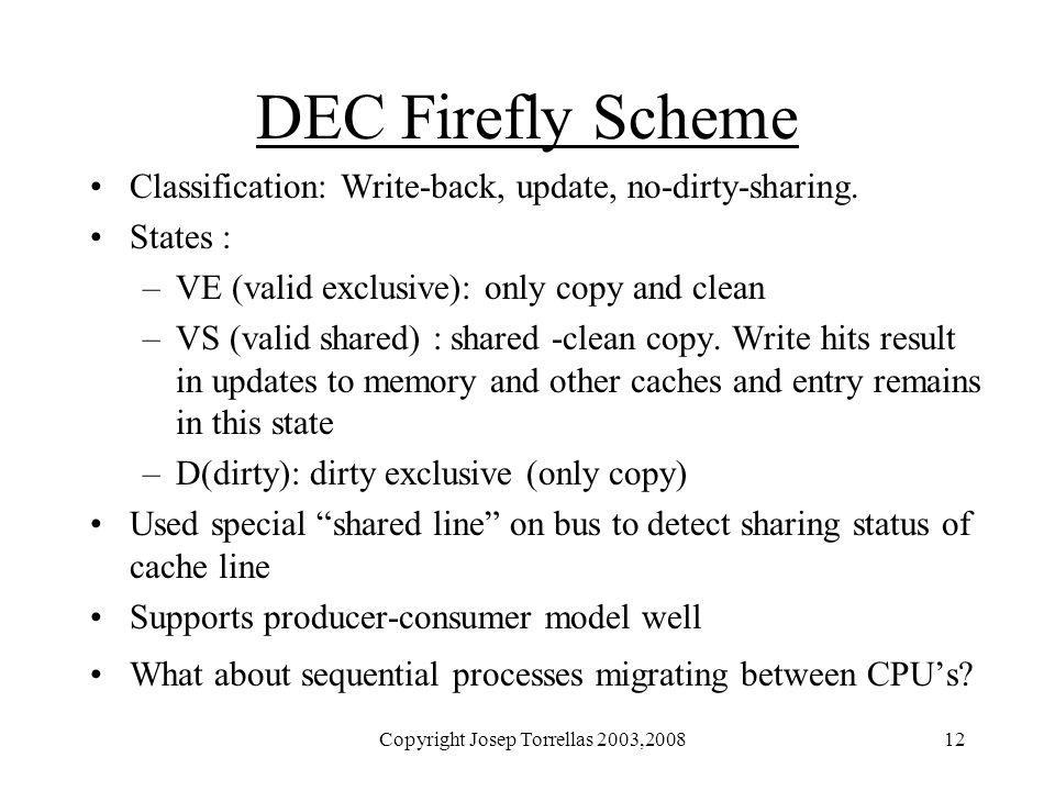 Copyright Josep Torrellas 2003,200812 DEC Firefly Scheme Classification: Write-back, update, no-dirty-sharing.