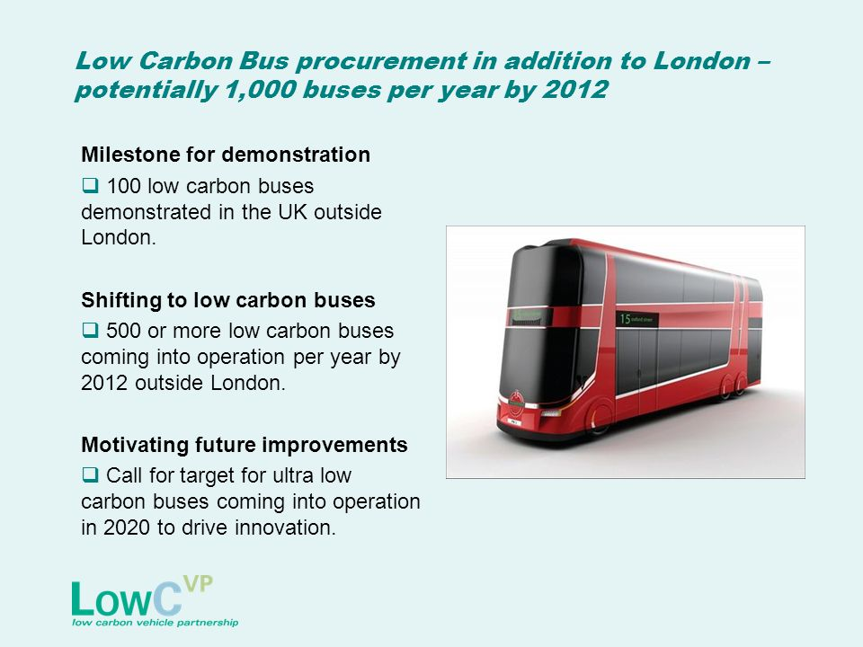 Low Carbon Bus procurement in addition to London – potentially 1,000 buses per year by 2012 Milestone for demonstration 100 low carbon buses demonstra