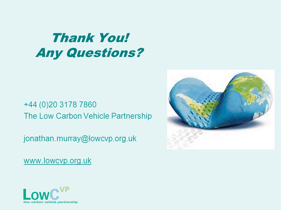 Thank You! Any Questions? +44 (0)20 3178 7860 The Low Carbon Vehicle Partnership jonathan.murray@lowcvp.org.uk www.lowcvp.org.uk