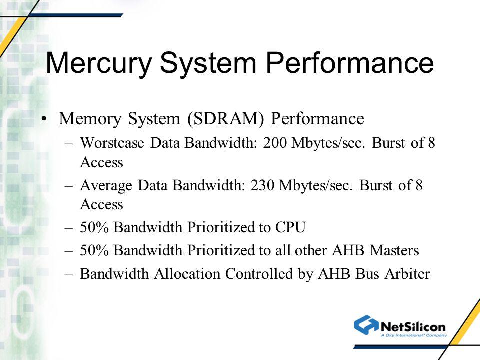 Mercury System Performance Memory System (SDRAM) Performance –Worstcase Data Bandwidth: 200 Mbytes/sec. Burst of 8 Access –Average Data Bandwidth: 230