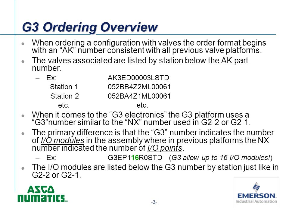 -3- G3 Ordering Overview When ordering a configuration with valves the order format begins with an AK number consistent with all previous valve platfo