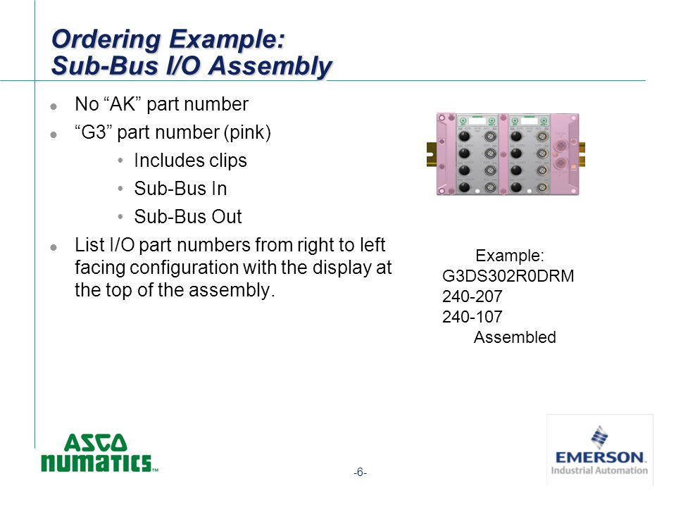 -6- Ordering Example: Sub-Bus I/O Assembly Example: G3DS302R0DRM 240-207 240-107 Assembled No AK part number G3 part number (pink) Includes clips Sub-