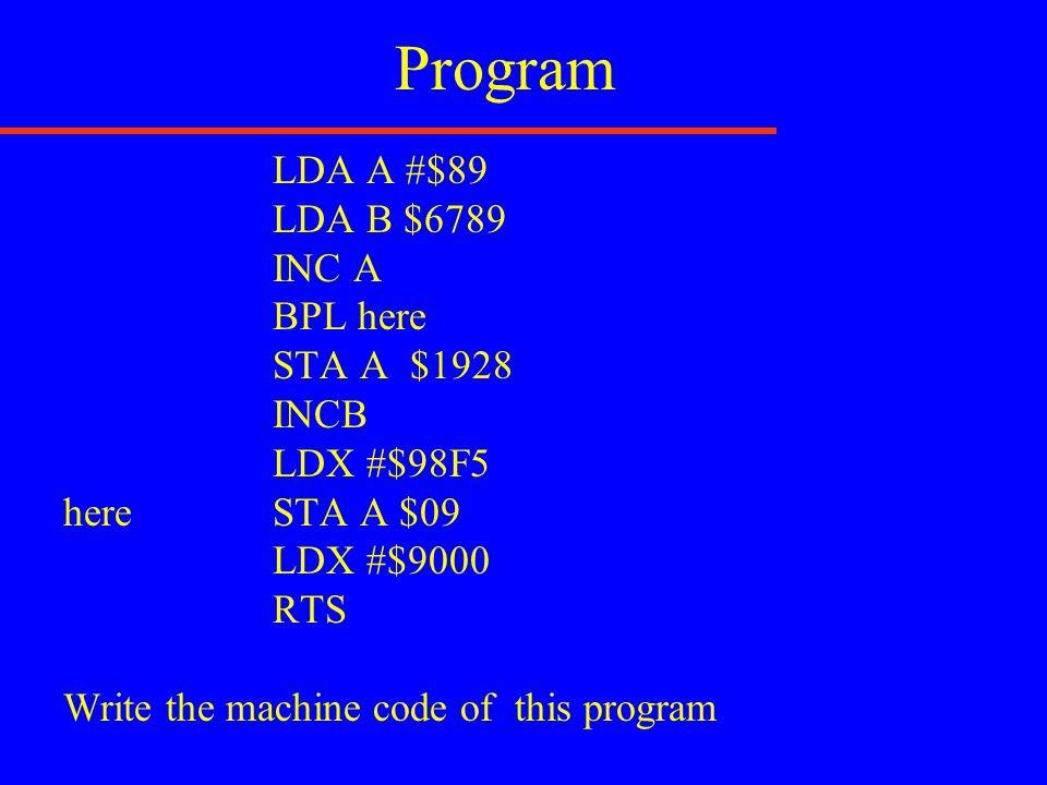 Program LDA A #$89 LDA B $6789 INC A BPL here STA A $1928 INCB LDX #$98F5 here STA A $09 LDX #$9000 RTS Write the machine code of this program