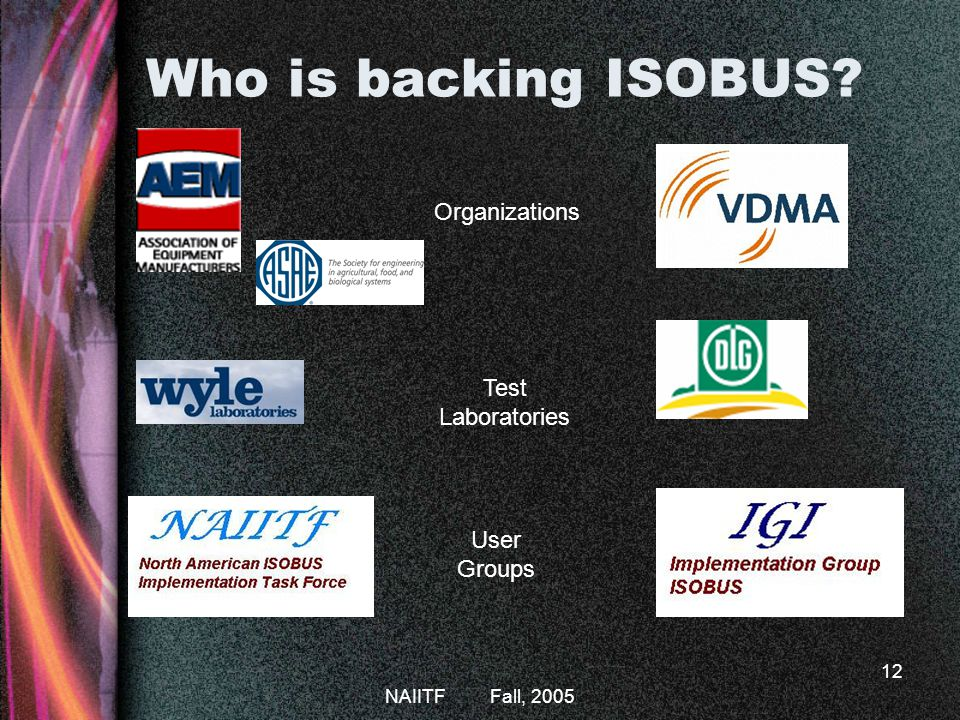 NAIITF Fall, 2005 12 Who is backing ISOBUS? Organizations Test Laboratories User Groups