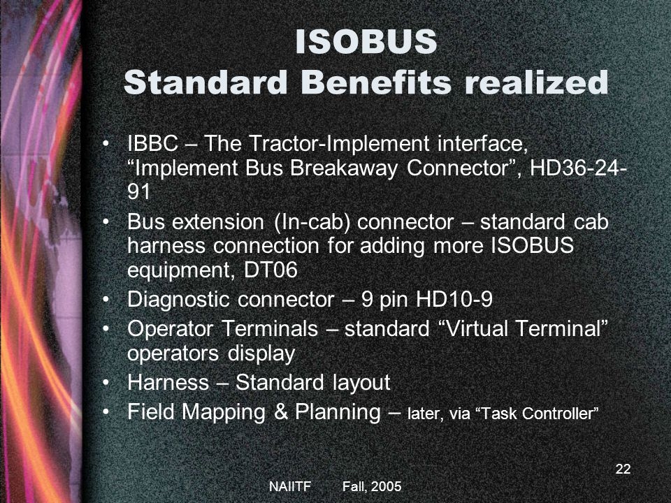 NAIITF Fall, 2005 22 ISOBUS Standard Benefits realized IBBC – The Tractor-Implement interface, Implement Bus Breakaway Connector, HD36-24- 91 Bus extension (In-cab) connector – standard cab harness connection for adding more ISOBUS equipment, DT06 Diagnostic connector – 9 pin HD10-9 Operator Terminals – standard Virtual Terminal operators display Harness – Standard layout Field Mapping & Planning – later, via Task Controller
