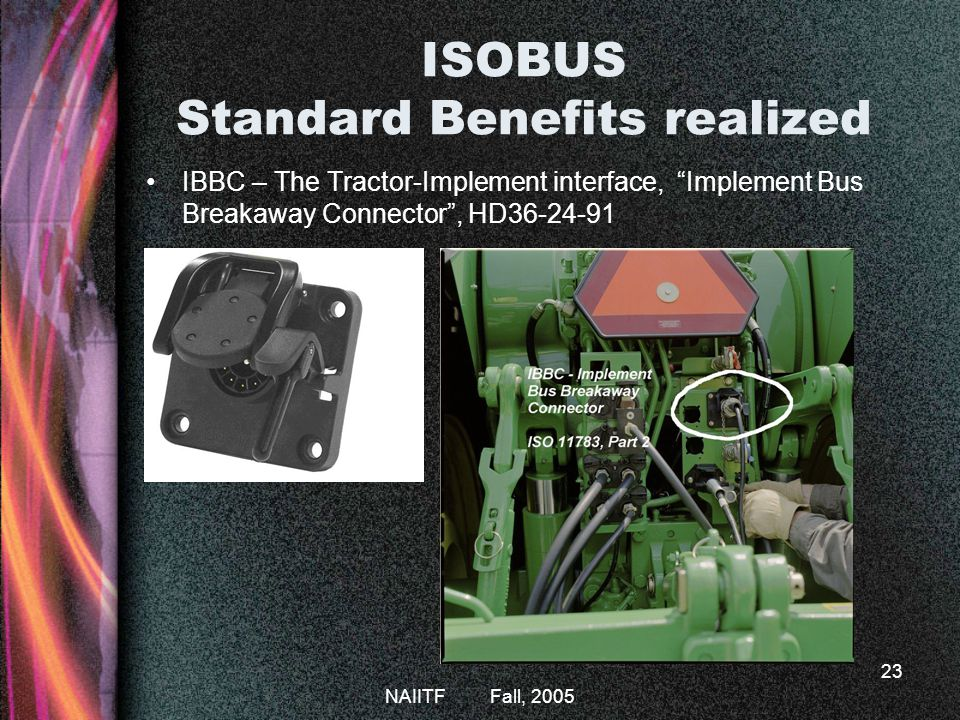 NAIITF Fall, 2005 23 ISOBUS Standard Benefits realized IBBC – The Tractor-Implement interface, Implement Bus Breakaway Connector, HD36-24-91