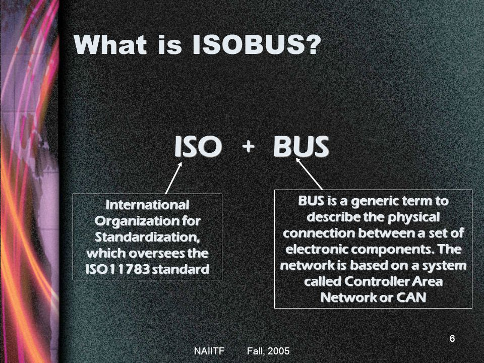 NAIITF Fall, 2005 6 What is ISOBUS.