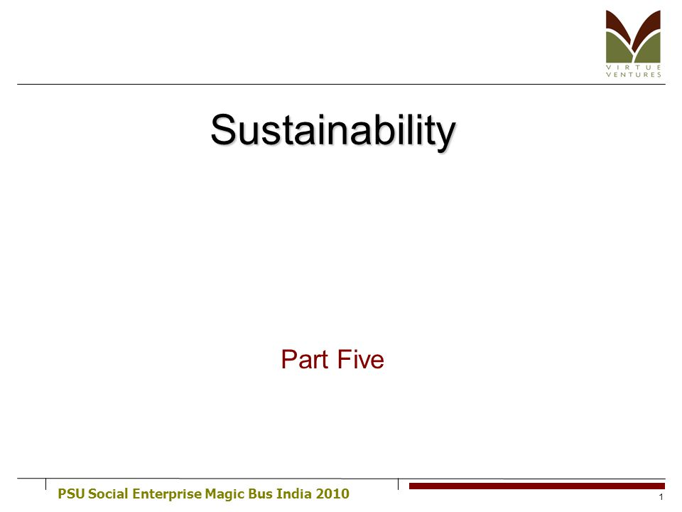 PSU Social Enterprise Magic Bus India 2010 1 Sustainability Part Five