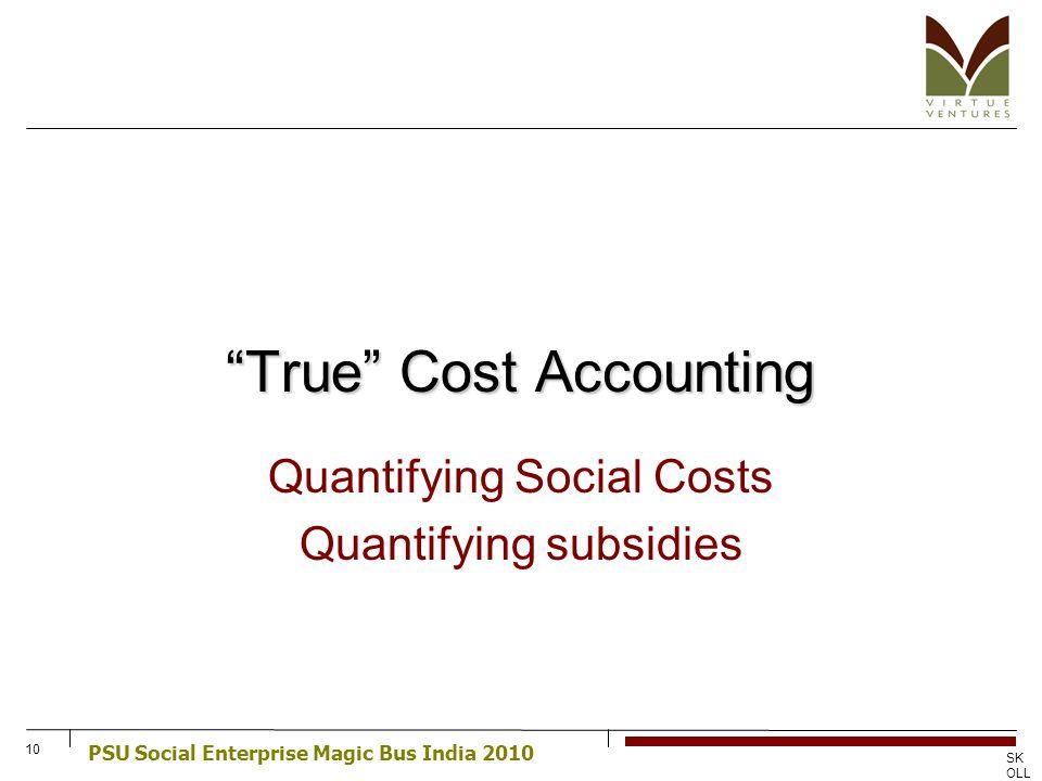 PSU Social Enterprise Magic Bus India 2010 SK OLL CE NT RE FO R SO CIA L EN TR EP RE NE UR SHI P 10 True Cost Accounting Quantifying Social Costs Quan