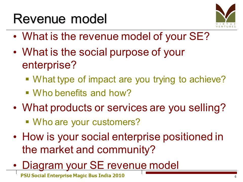 PSU Social Enterprise Magic Bus India 2010 Revenue model What is the revenue model of your SE? What is the social purpose of your enterprise? What typ