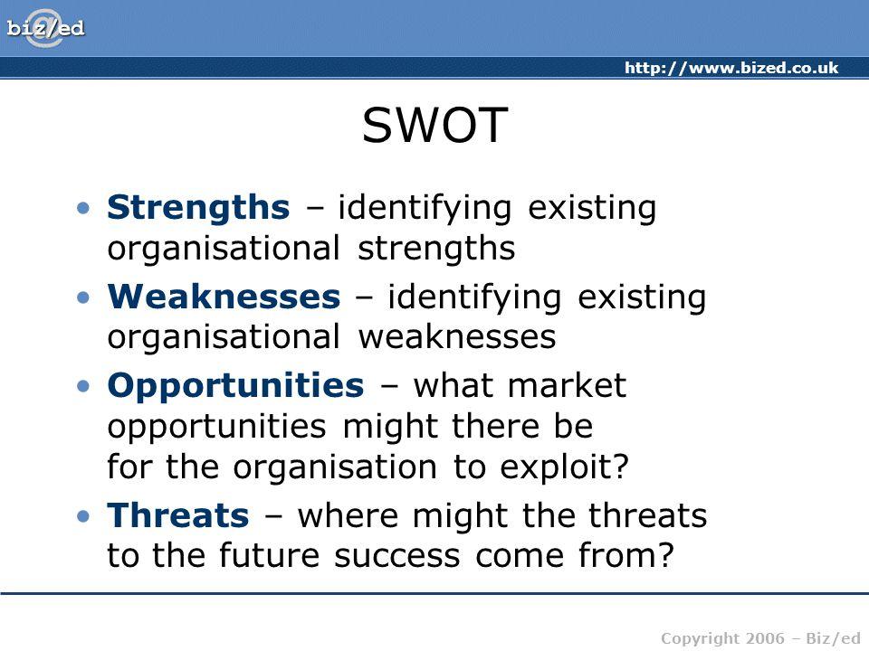 http://www.bized.co.uk Copyright 2006 – Biz/ed SWOT Strengths – identifying existing organisational strengths Weaknesses – identifying existing organi