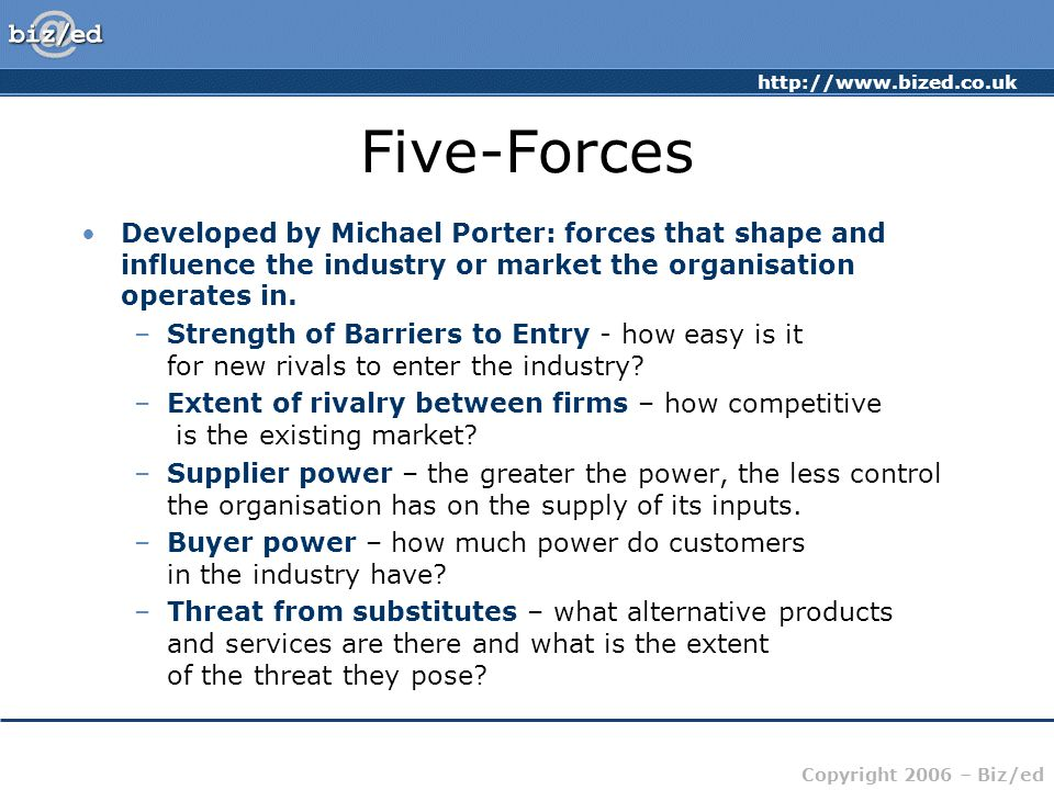 http://www.bized.co.uk Copyright 2006 – Biz/ed Five-Forces Developed by Michael Porter: forces that shape and influence the industry or market the org