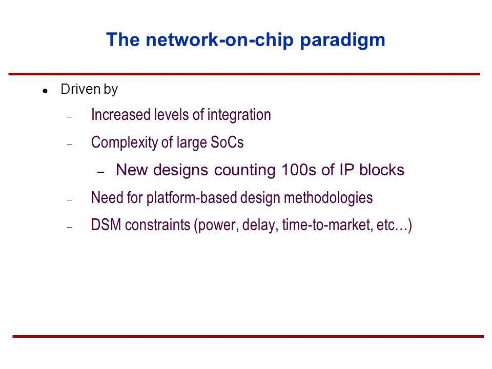 The network-on-chip paradigm Driven by Increased levels of integration Complexity of large SoCs – New designs counting 100s of IP blocks Need for plat