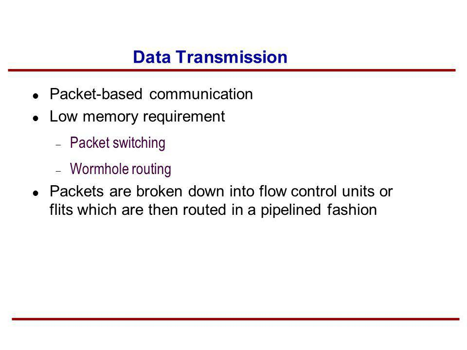 Data Transmission Packet-based communication Low memory requirement Packet switching Wormhole routing Packets are broken down into flow control units
